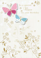 "Niece Birthday Card Hand Finished ""Butterfly Design"" Size 6.75"" x 4.75"" II0307"