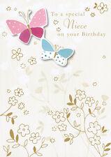 """nièce Carte d'anniversaire Finition à la main """" motif papillon """" taille 17.1cm X"""