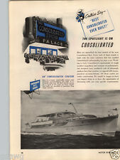 1946 PAPER AD 2 PG Consollidated Motor Boat 52' 60' Cruiser 39' Twin Cabin42'