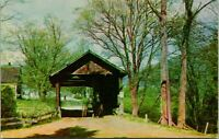 Waitsfield VT Historic Covered Bridge Horse Buggy Postcard unused (18974)