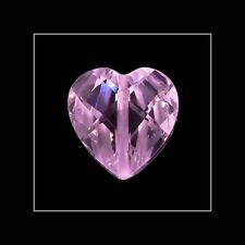 4 Lab Cubic Zirconia Heart Beads 12mm Pink #64058