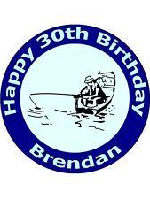 "7.5"" FISHERMAN & FISHING BIRTHDAY CAKE TOPPER PERSONALISED ON EDIBLE RICE PAPER"