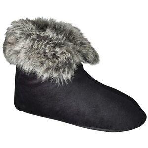 Merona Charolette Slipper Booties Size 5-6 Black Rubber Sole Slippers Faux Fur