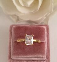 Vintage Jewellery Gold Ring White Sapphire Antique Deco Jewelry size 7 or O