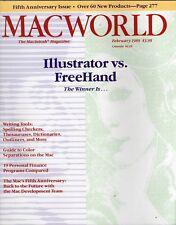 "ITHistory (1989/02) Magazine: MACWORLD ""Illustrator vs Freehand""  Ads!"