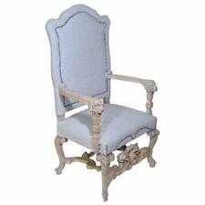 19th Century Highly Carved Baroque Throne Armchair White Washed in Linen