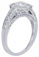14k White Gold Cushion Cut Diamond Engagement Ring Bezel Set Deco Pave 1.20ctw