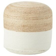 Signature Design by Ashley - Sweed Valley Pouf/Ottoman, Natural/White