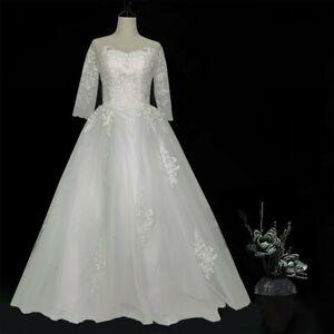 Plus Size Elegant Three Quarter Sleeve Lace Wedding Dresses  Bridal Gown US6-20W