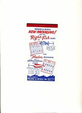 Wright and McGill Fishing Co. Notepad and Calendar 1958- 1959 Unused