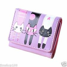Women Cat Pattern Coin Purse Clutch Leather Short Wallet Card Holders Handbag UK
