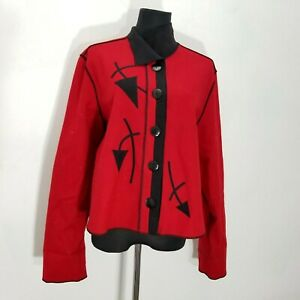 Beppa Womens Coat Jacket Size M Felted Wool Red Black Art To Wear Button Up