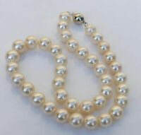 """18"""" AAA+ 10-11mm Round South Sea White Pearl Necklace 14k Gold Clasp"""