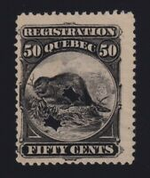 Canada VD #QR10a (1870) 50c Black BEAVER REGISTRATION Revenue Used