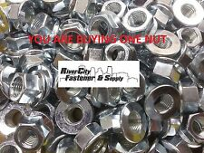 (1) M14-1.5 or 14mm Metric FINE Thread Flange Hex Nut Steel Zinc Plated 14M