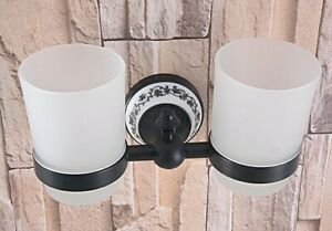 Black Brass Wall Mounted Bathroom Toothbrush Holder with 2 Glass Cups Gba765