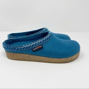Haflinger Wool Clogs Zig Zag Blue Women Size 7 / 38