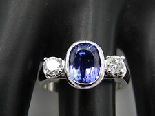1.94 tcw Bezel Set Purple Sapphire Diamond 3 Stone Ring E/VVS 14k WG Designer