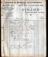 "SAINT-MARIEN (23) MATERIAUX de CONSTRUCTION & HOTEL de la GARE ""GIBARD"" 1912"