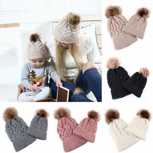 Winter Parent-child Caps Baby Warm Knitted Mum Pompom Cap Beanie Hat #