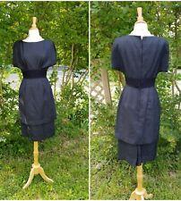 "vintage 1950s black silk dupioni peplum dress W26"""