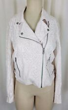 A|X ARMANI EXCHANGE Faux Pink Leather Moto Biker Jacket Womens L Asymmetrical