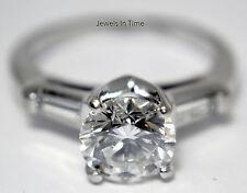 Ladies Diamond Ring 1.70 Carat Round Brilliant Platinum 4.5 GIA Certificate