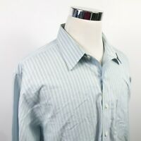 Brooks Brothers Mens 18 36 Classic Fit Dress Shirt Blue Green Striped Cotton