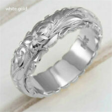 Silver Ring Jewelry Gift Size 8 Fashion Suspended Carved Rose Flower Ring White