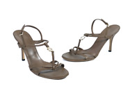 GUCCI women's beige leather gucci logo heeled sandals | Size EUR 38
