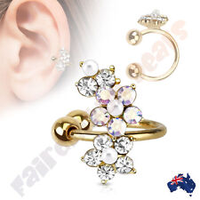 Jewelled Flower Ear Cuff Gold Ion Plated Multi