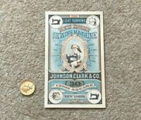 Antique Pictorial Advert Trade Card New Home Sewing Machine Johnson Clark #1