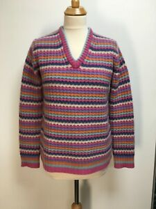 Marc Jacobs supersoft cashmere textured multicoloured stripe jumper XS also S