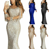 Dress Women Maxi Long Sequin V Party Cocktail Sleeve Neck Bodycon Sexy Evening