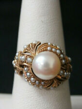 Stunning 14k Yellow Gold Pearl Domed Ring. Very Pretty! Make Offer! #450