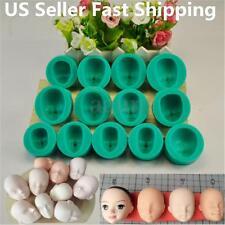13pcs Silicone DIY Dolls Face Heads Mold Sugarcraft Cake Decorating Fondant Set