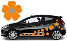64 Naranja y Plata Flor coche calcomanías, pegatinas, pegatinas de gráficos de coche, Daisy