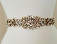 "Wedding Belt, Bridal Sash Belt - GOLD Crystal Pearl Sash Belt = 19"" long"