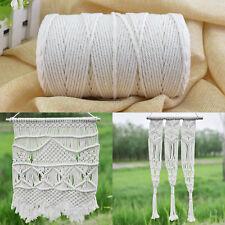 200m 3mm Natural Craft Macramé Cotton String Artisan Thread Twisted Cord Beige