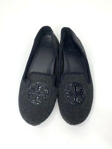 Tory Burch Gray Fabric Women's Ballet Loafer Flats Size 8M