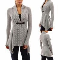 Women Long Sleeve Sweater Top Casual Irregular Knitted Cardigan Outwear Coat