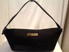 Gucci Black Small Canvas - Zippered Leather Pouch Purse Monogram - Made In Italy