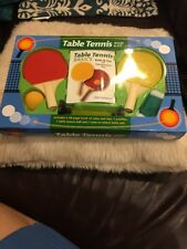 Table Tennis Ping Pong 2 Rackets Book Suction Cup Net 1 Ball Red Yellow Travel