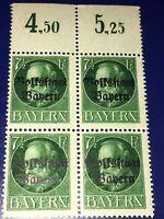 Germany  1919 Bavaria Scott #195 Signed Block Of 4  W / Margin Signed MNH