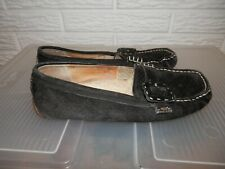 UGG Women's Black Leather Suede Slippers With Sheepskin Fur Size 7.5