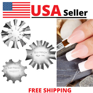 3x French Nail Cutter Easy Tip Smile Line Edge Stencil Trimmer Tool 11sizes  New