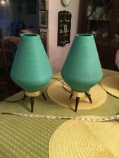 Vintage Mid Century Danish Modern Retro Beehive Lamps 1950s Pearsall Era Tripod