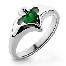 US SELLER BEAUTIFUL EMERALD GREEN SIMULATED GEMSTONE STAMPED 925 RING SIZE 10