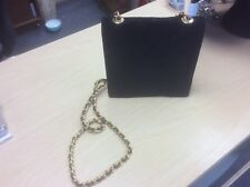 Russell and Bromley black suede quilted small handbag with gold chain excellent
