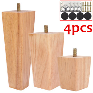 4x Solid Wood Furniture Legs Sofa Bed Cabinet Table Chair Replacement Feet